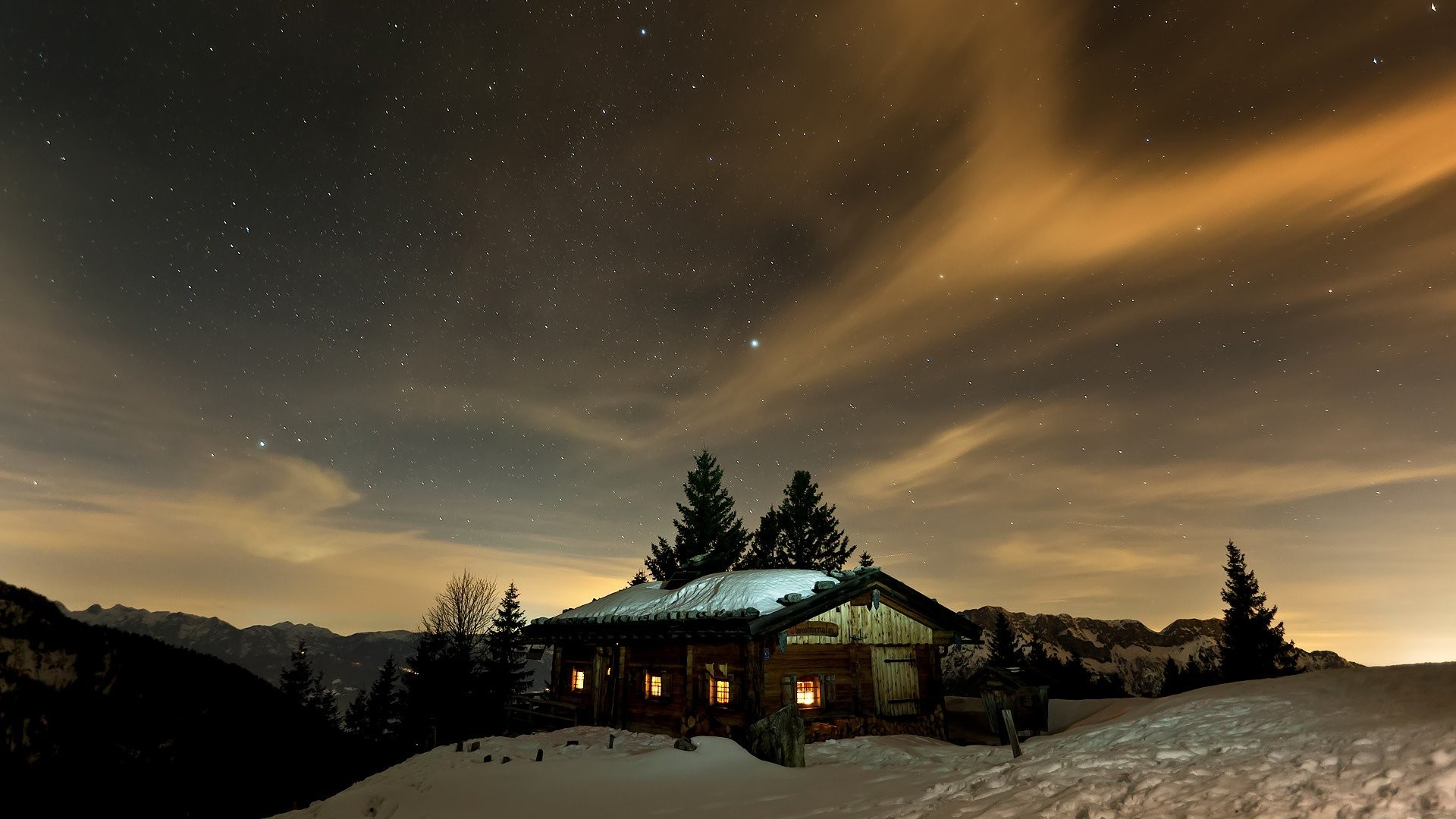 Mountains winter night stars skyscapes cottage night sky wallpaper |  | 264009 | WallpaperUP