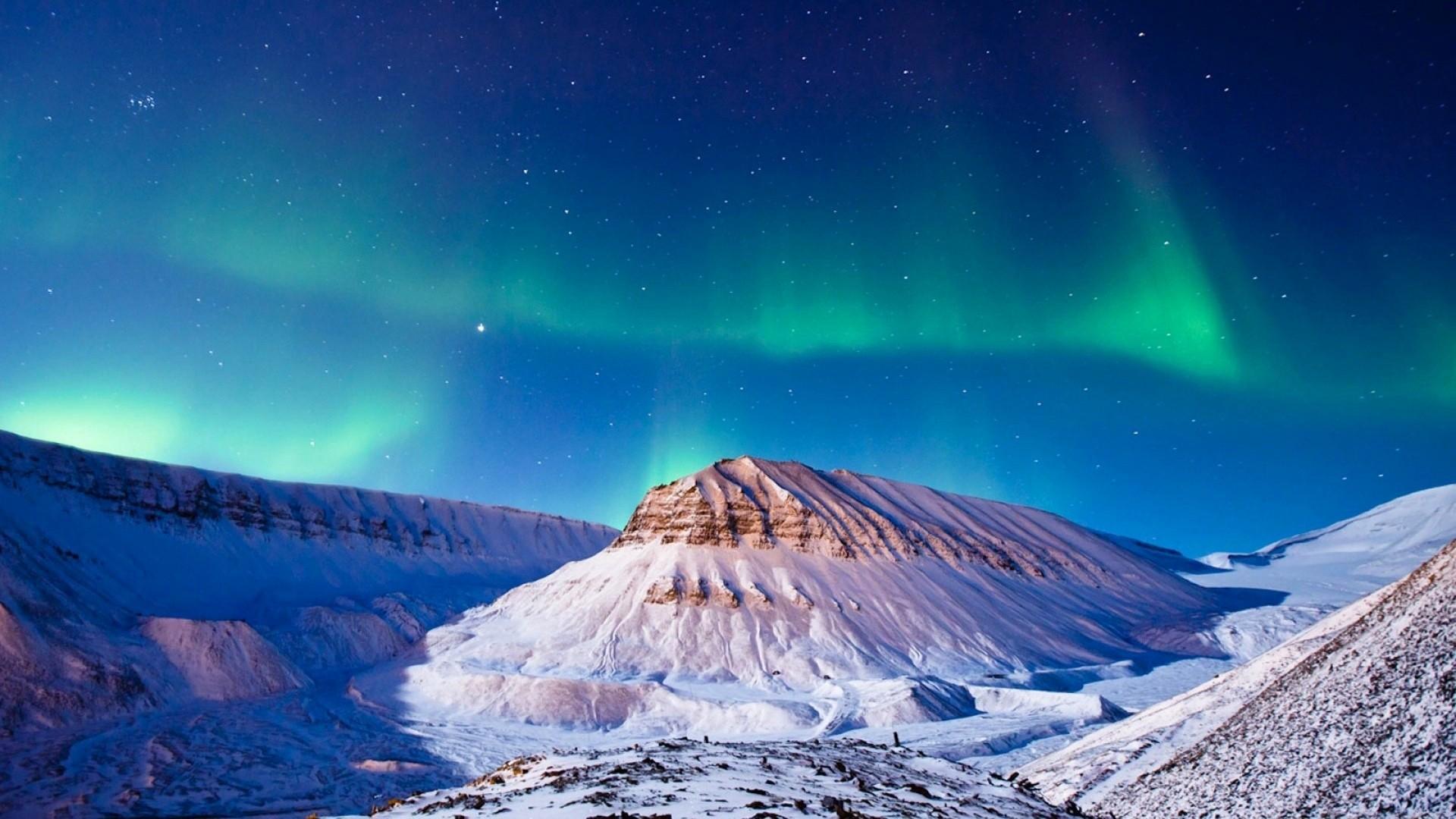 Night Sky Winter Snow Mountains
