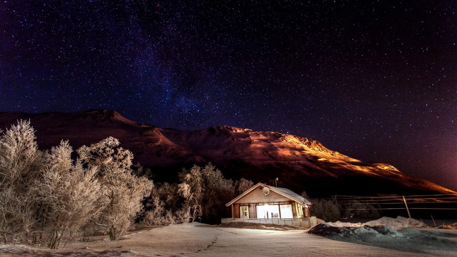 Mountains, winter, nature, snow, night, sky, desktop