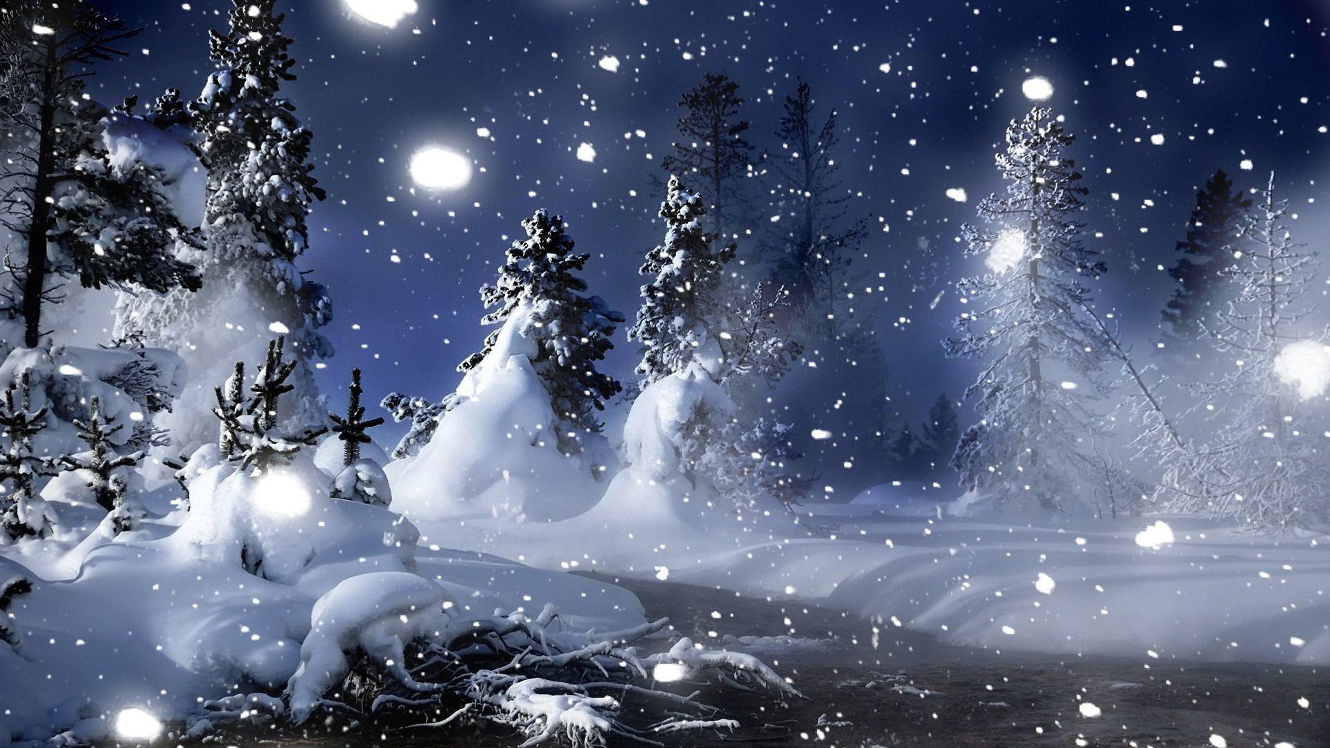 Snowy Winter Night Scenes Wallpaper | HD Wallpapers | Pinterest | Winter  night, Hd wallpaper and Wallpaper