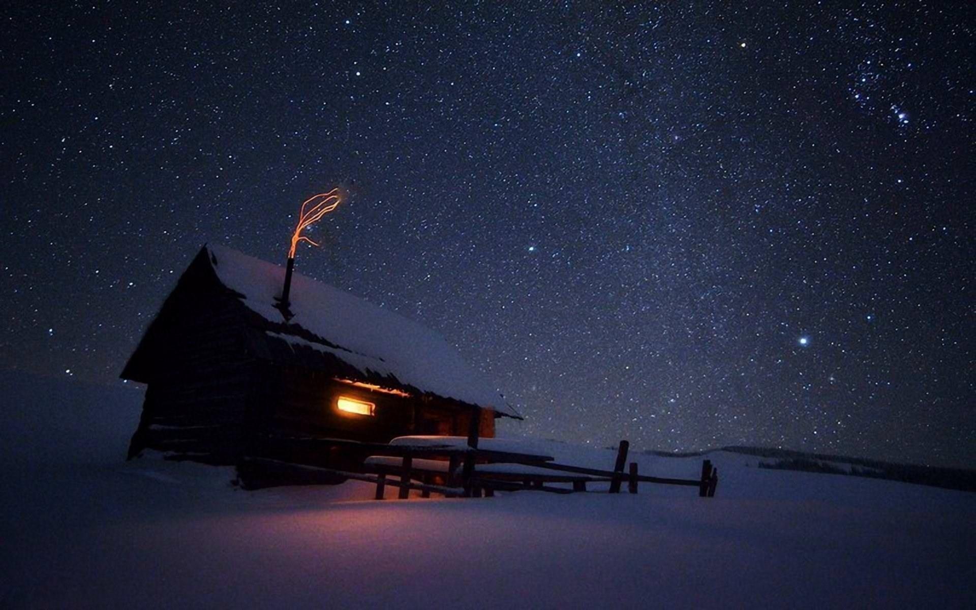 winter night stars wallpaper hd desktop