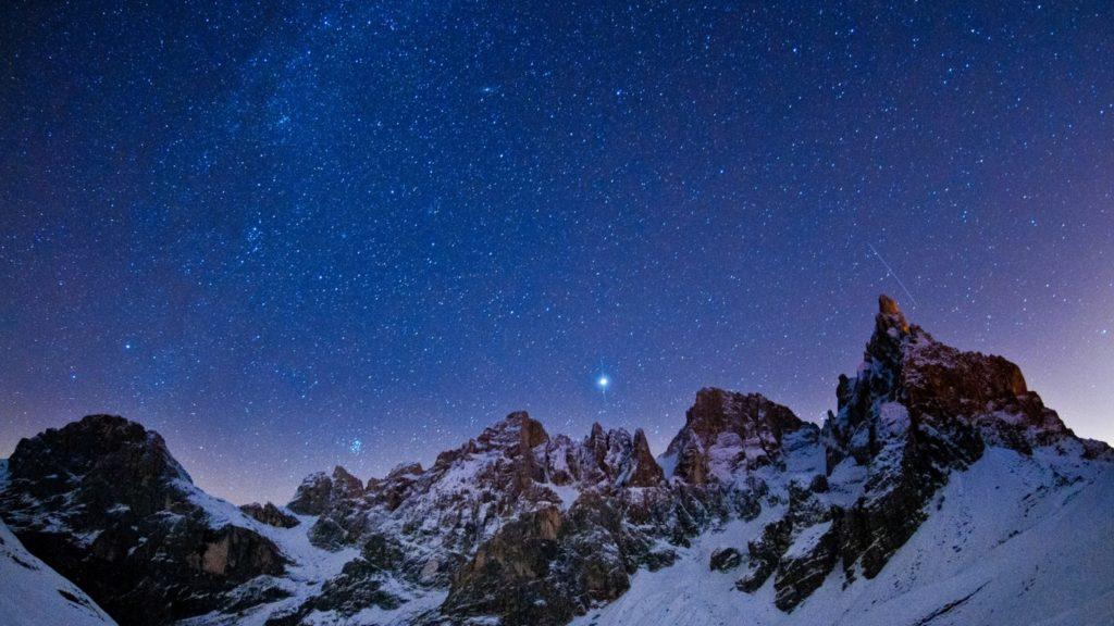 Wallpaper mountains, sky, night, stars, light, winter