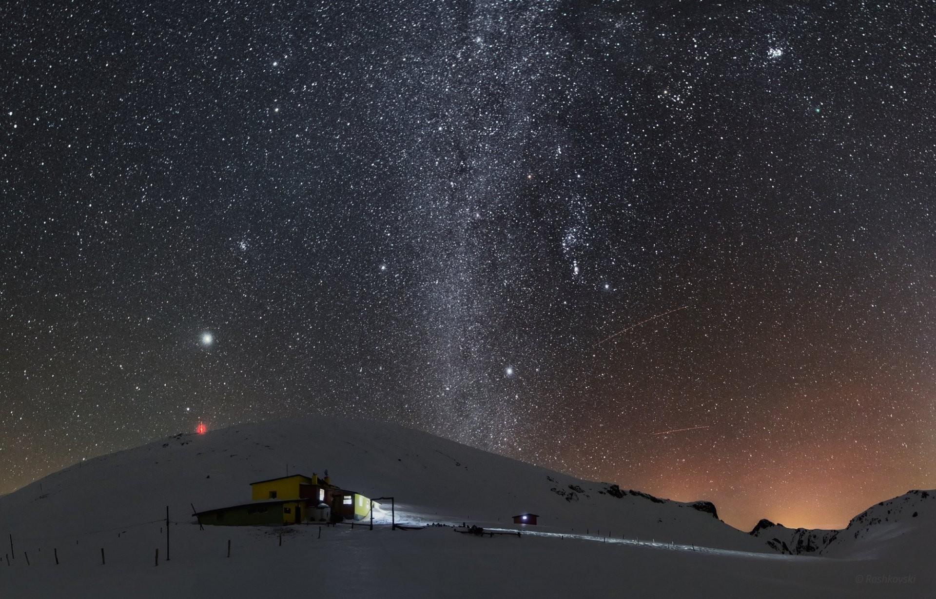 winter snow mountain weather station night sky star
