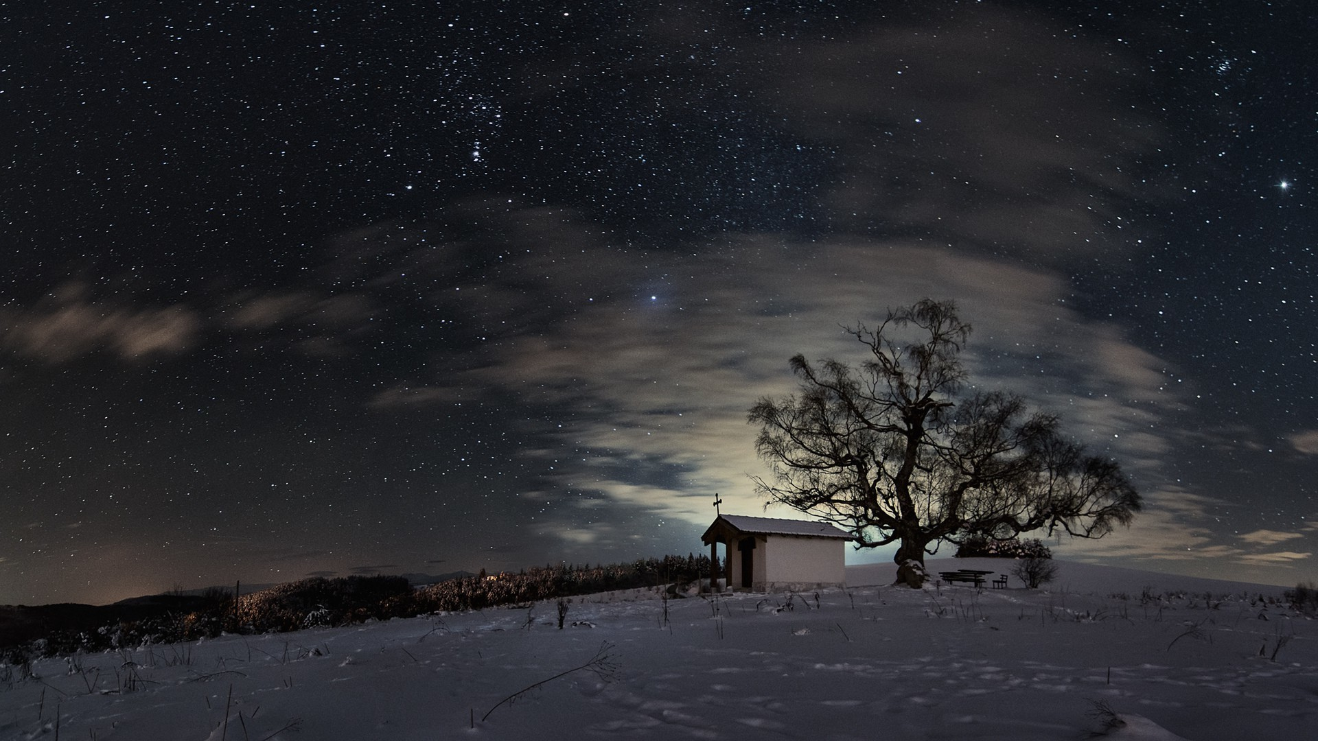 nature, Trees, Forest, Branch, Landscape, Winter, Snow, Clouds, Night, Sky,  Stars, Church, Cross, Lights, Hill, Footprints, Bench, Long Exposure  Wallpapers …
