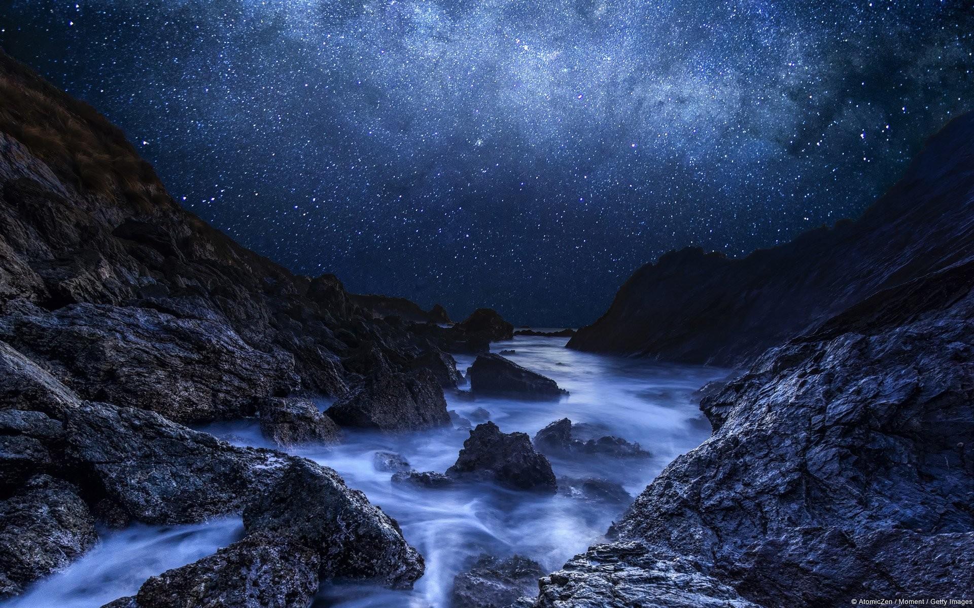 Earth – Night Earth Starry Sky Stars Winter Mountain River Rock Wallpaper