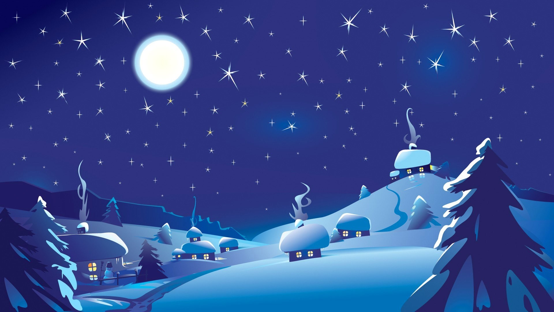 landscape winter night sky moon star hata snowman