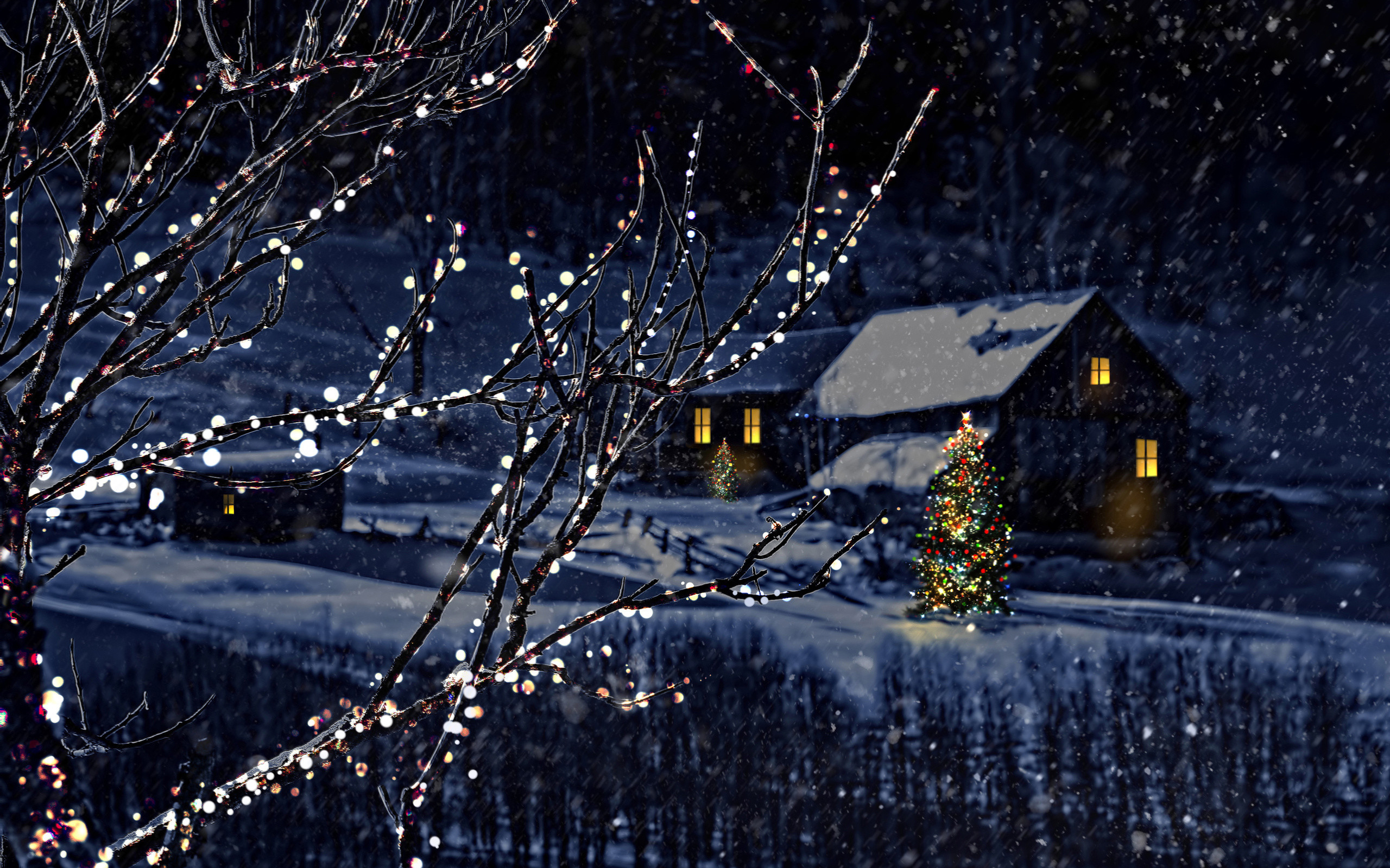 Night christmas tree new year winter bokeh wallpaper | | 176640 |  WallpaperUP