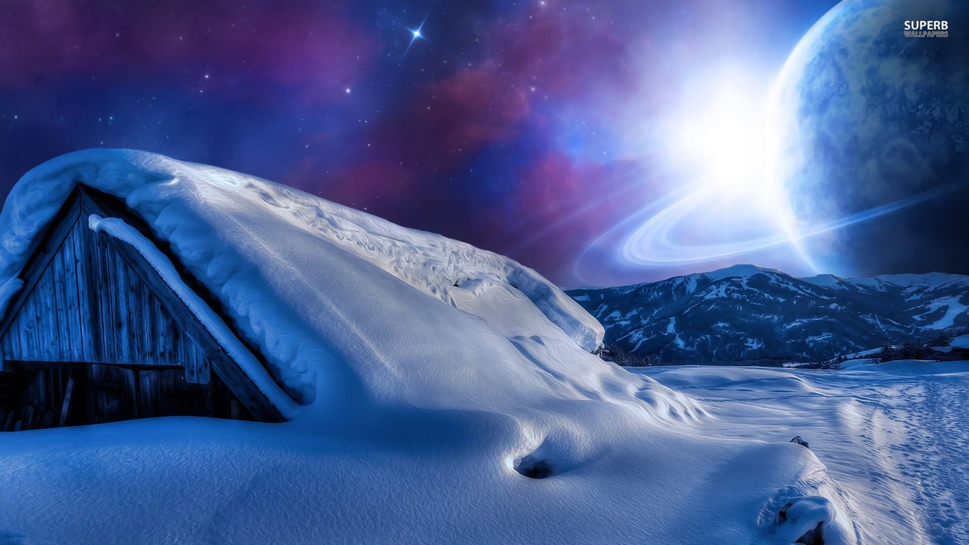 Planet In The Sky During A Winter Night