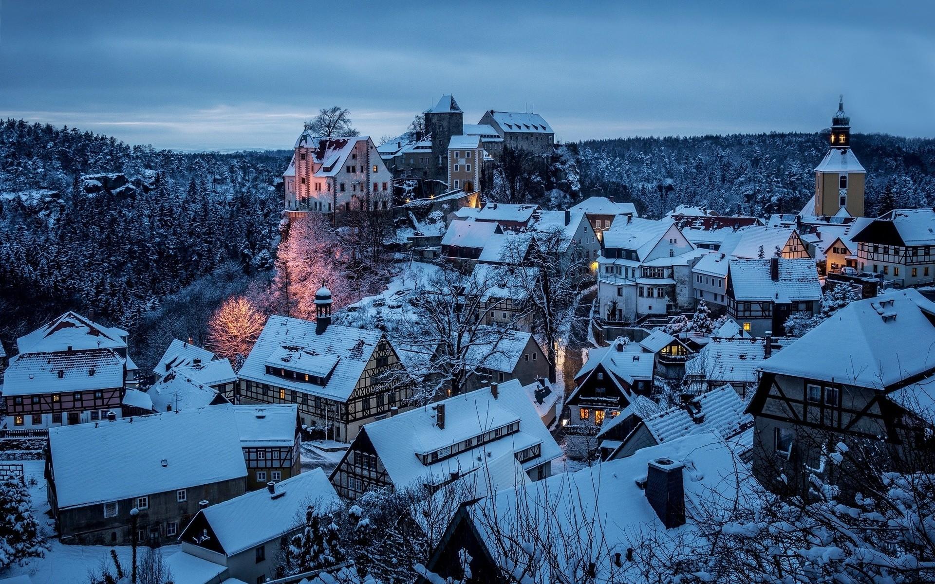 Honshtayn Saxon Sachsische schweiz Germany town winter snow night sky roof  wallpaper | | 32031 | WallpaperUP