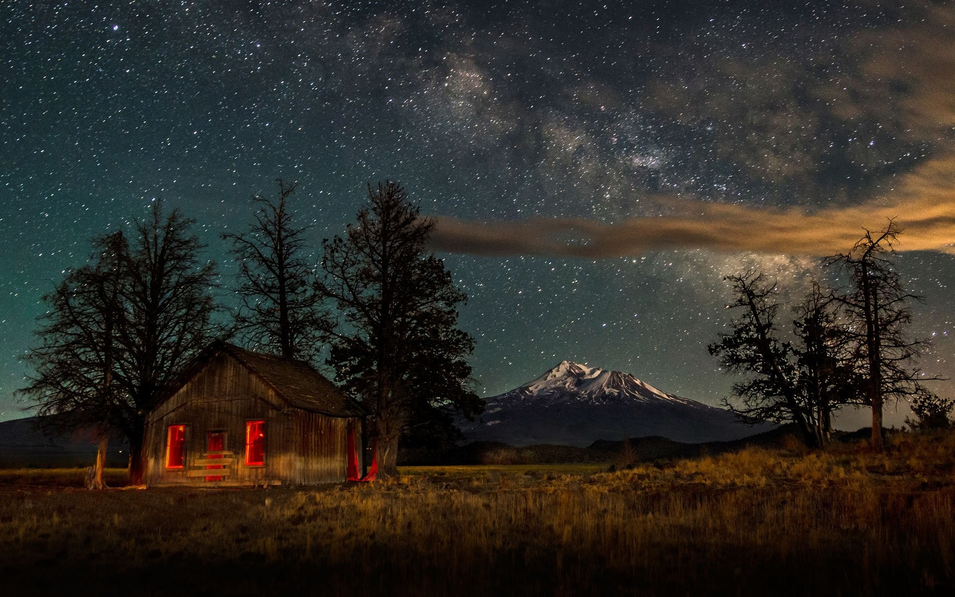 Man Made – Cabin Landscape Mountain Snow Winter Sky Night Starry Sky  Wallpaper