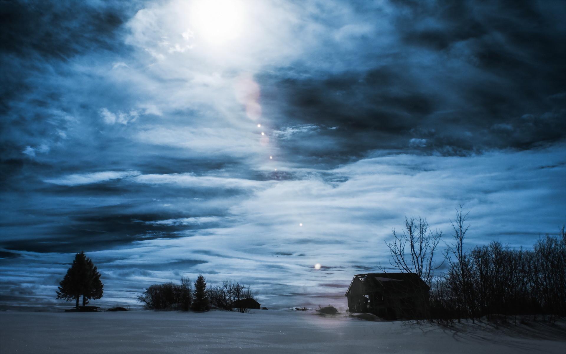Night winter house landscape clouds sky wallpaper | | 136630 |  WallpaperUP