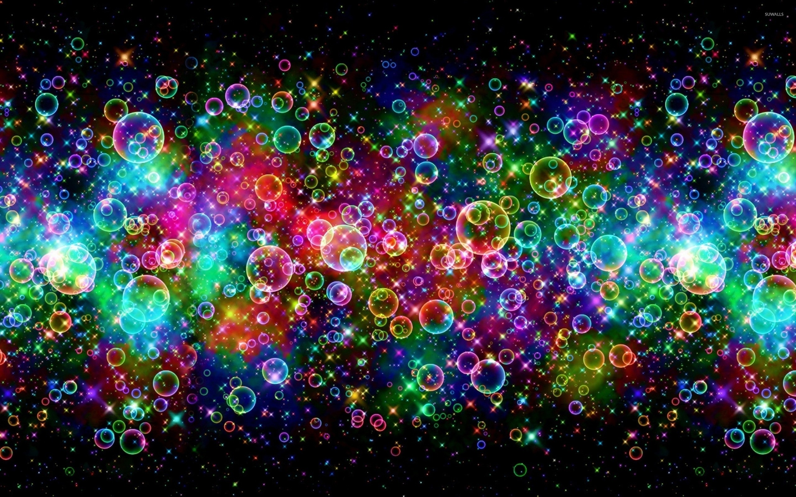 Bright colors reflected on the bubbles wallpaper jpg