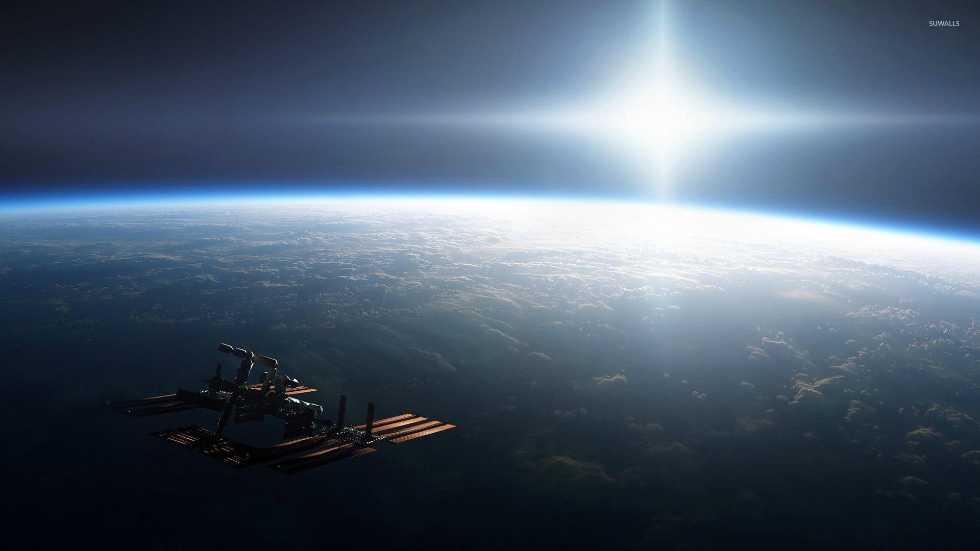 International Space Station orbiting Earth wallpaper