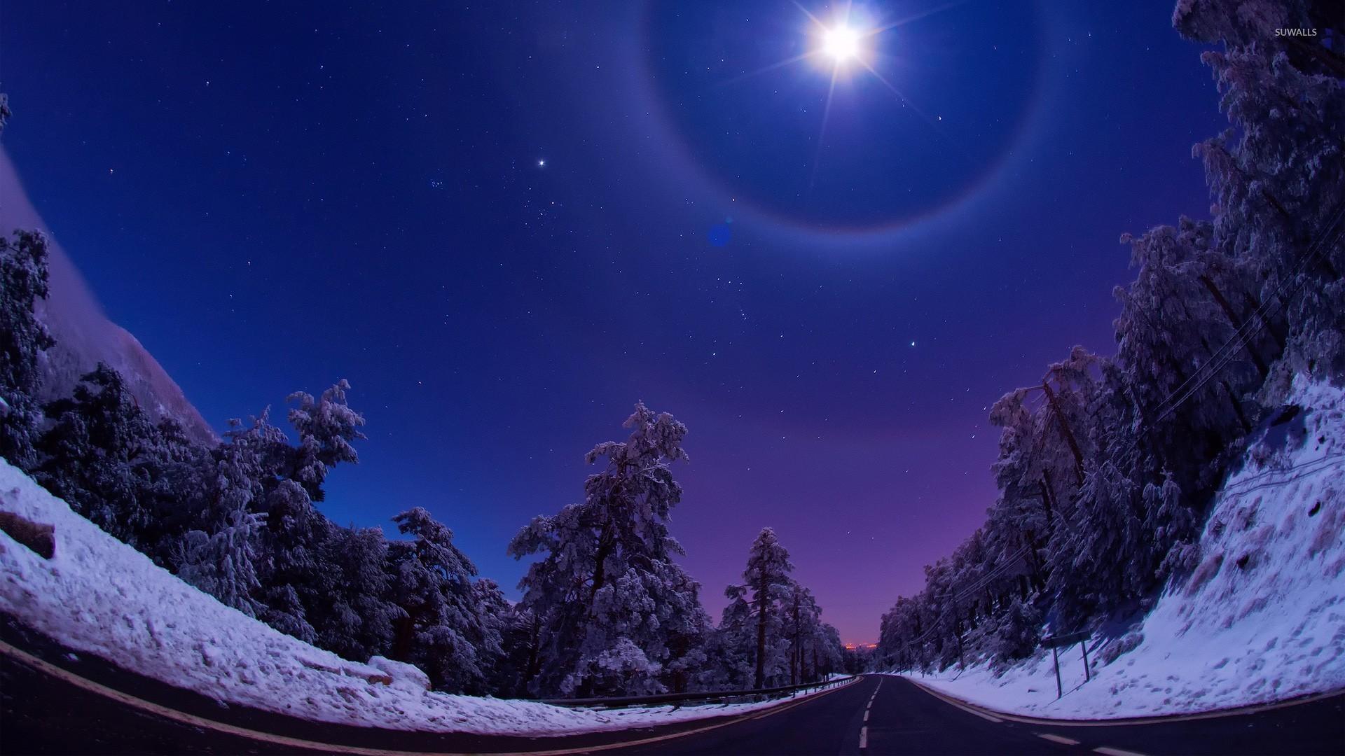Mountain road in winter wallpaper jpg