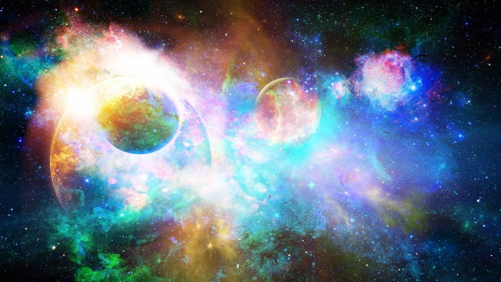 Preview wallpaper stars, planets, light, galaxy, universe, nebula 1920×1080