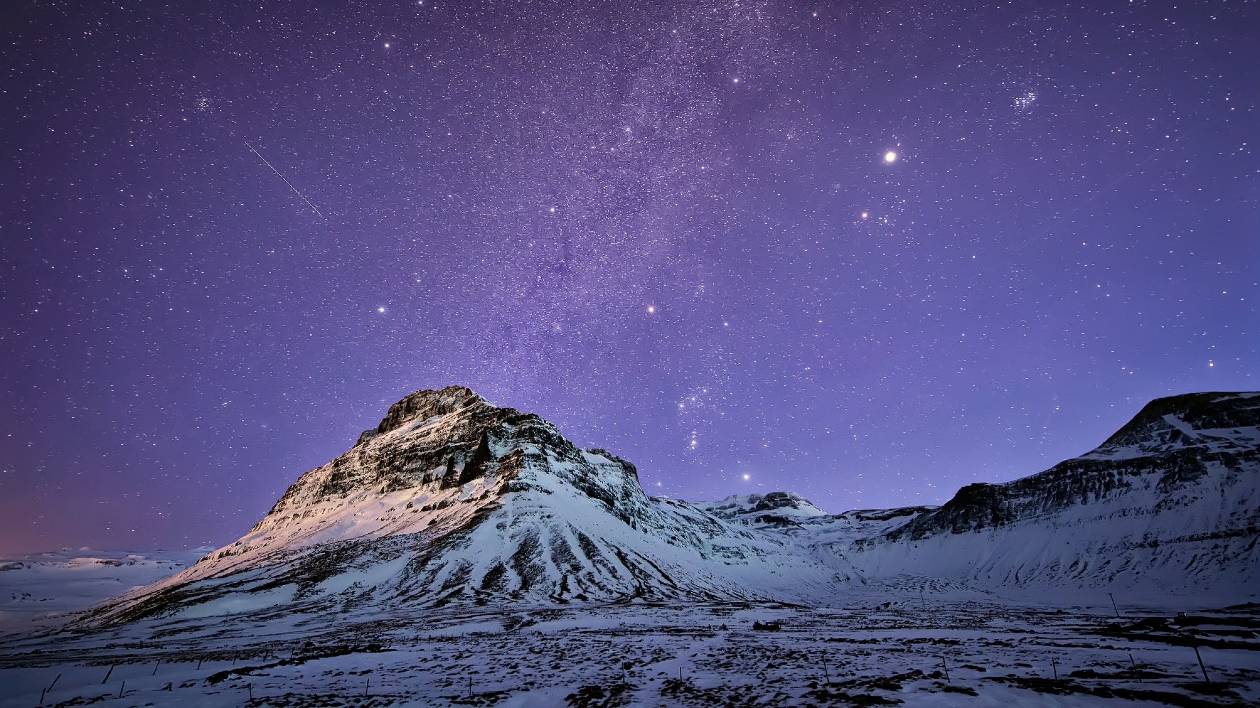 Preview wallpaper iceland, mountains, snow, night, lilac, sky, stars,