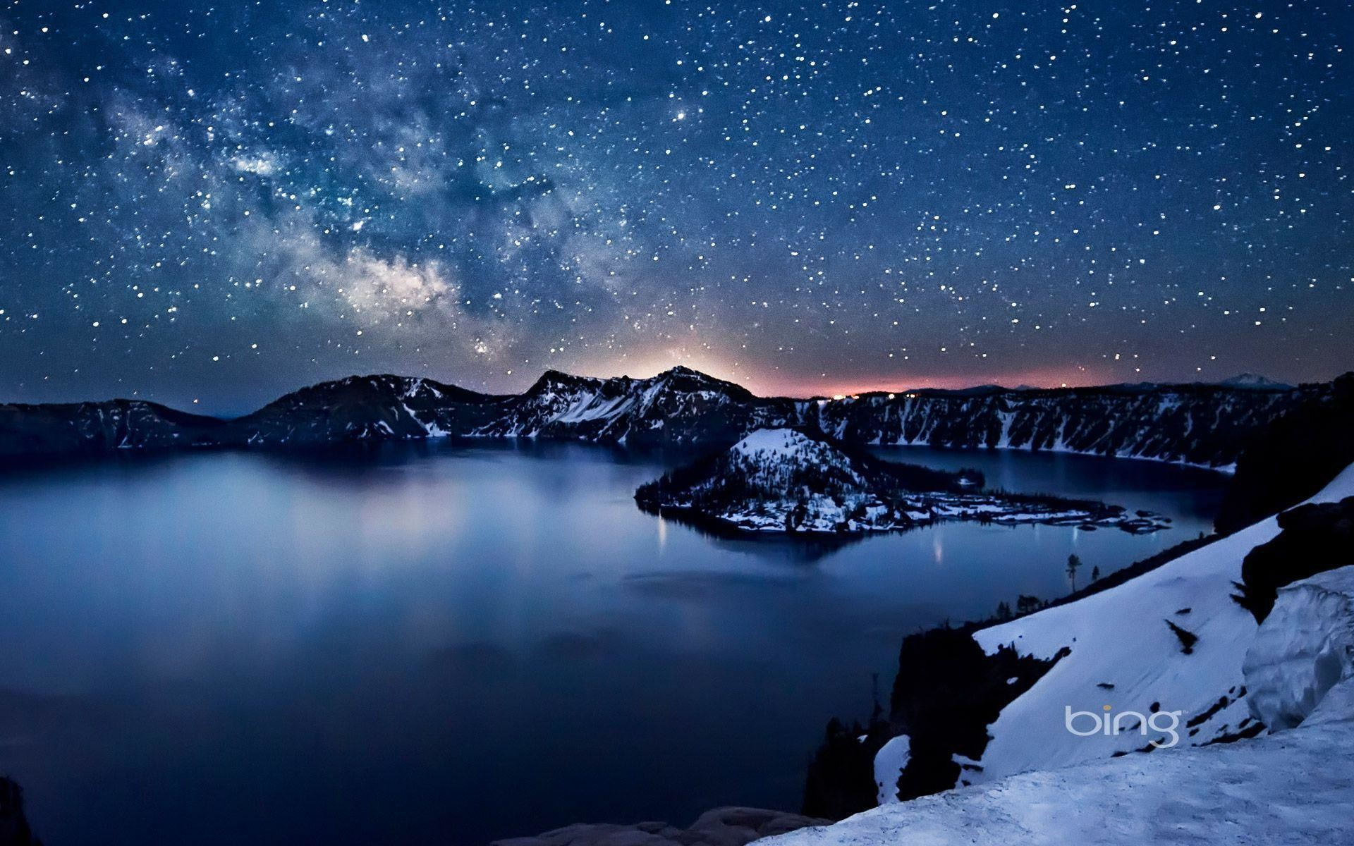 Milky Way above Crater Lake, Oregon | HD Bing Wallpaper Archive