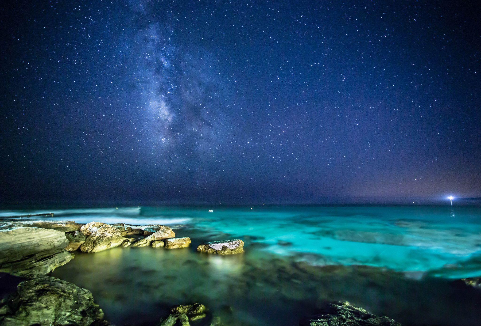 Wallpaper sea, rocks, night, sky, stars, the milky way wallpapers .