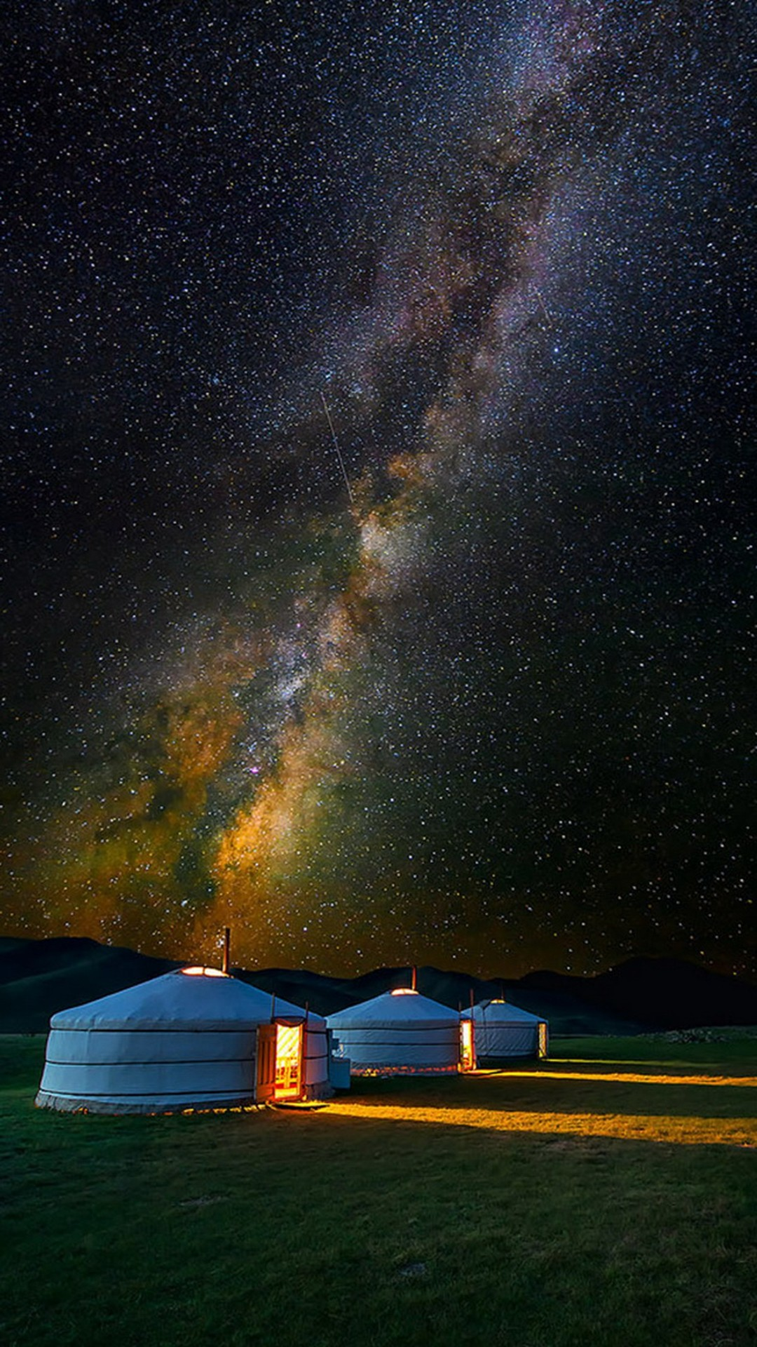 Mongolian Yurt Camp Milky Way Stars #iPhone #6 #plus #wallpaper