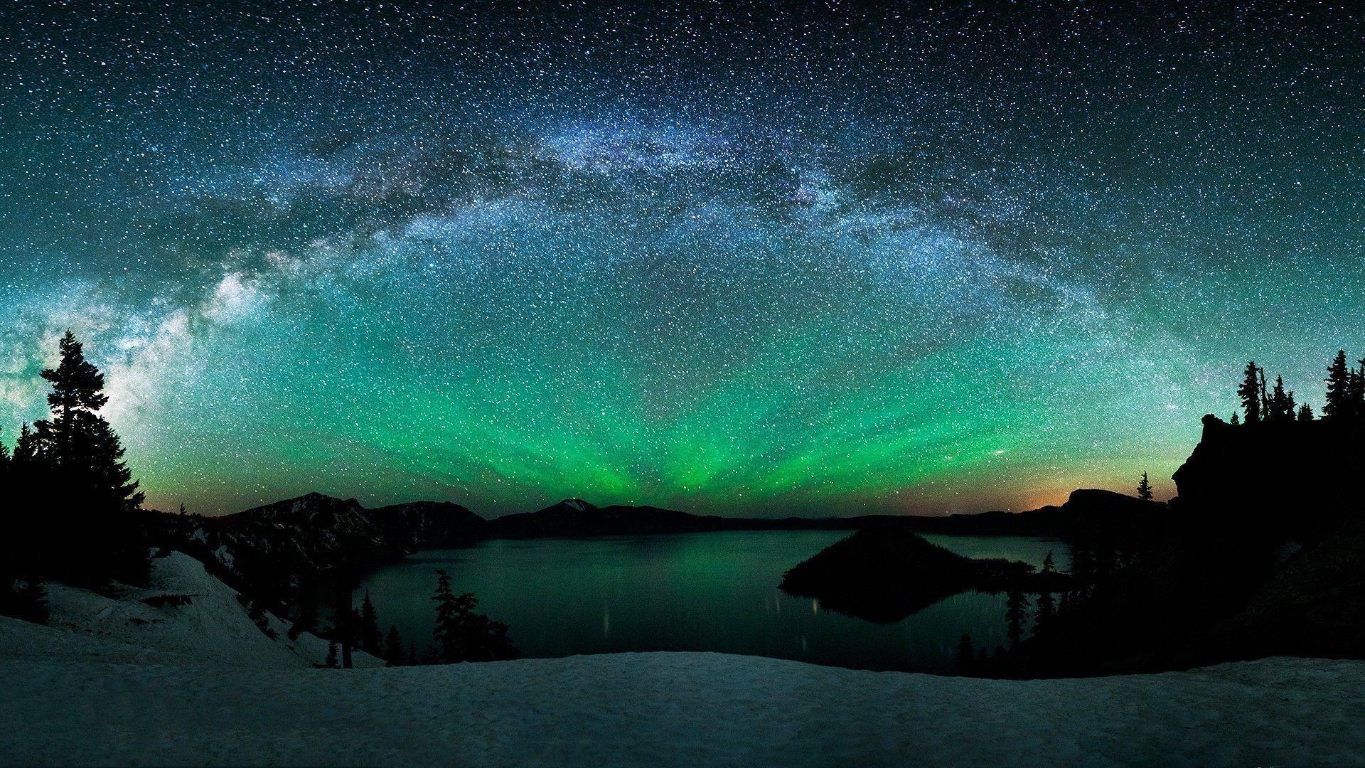 Milky Way Aurora Borealis Photo Widescreen 2 HD Wallpapers | aladdino.