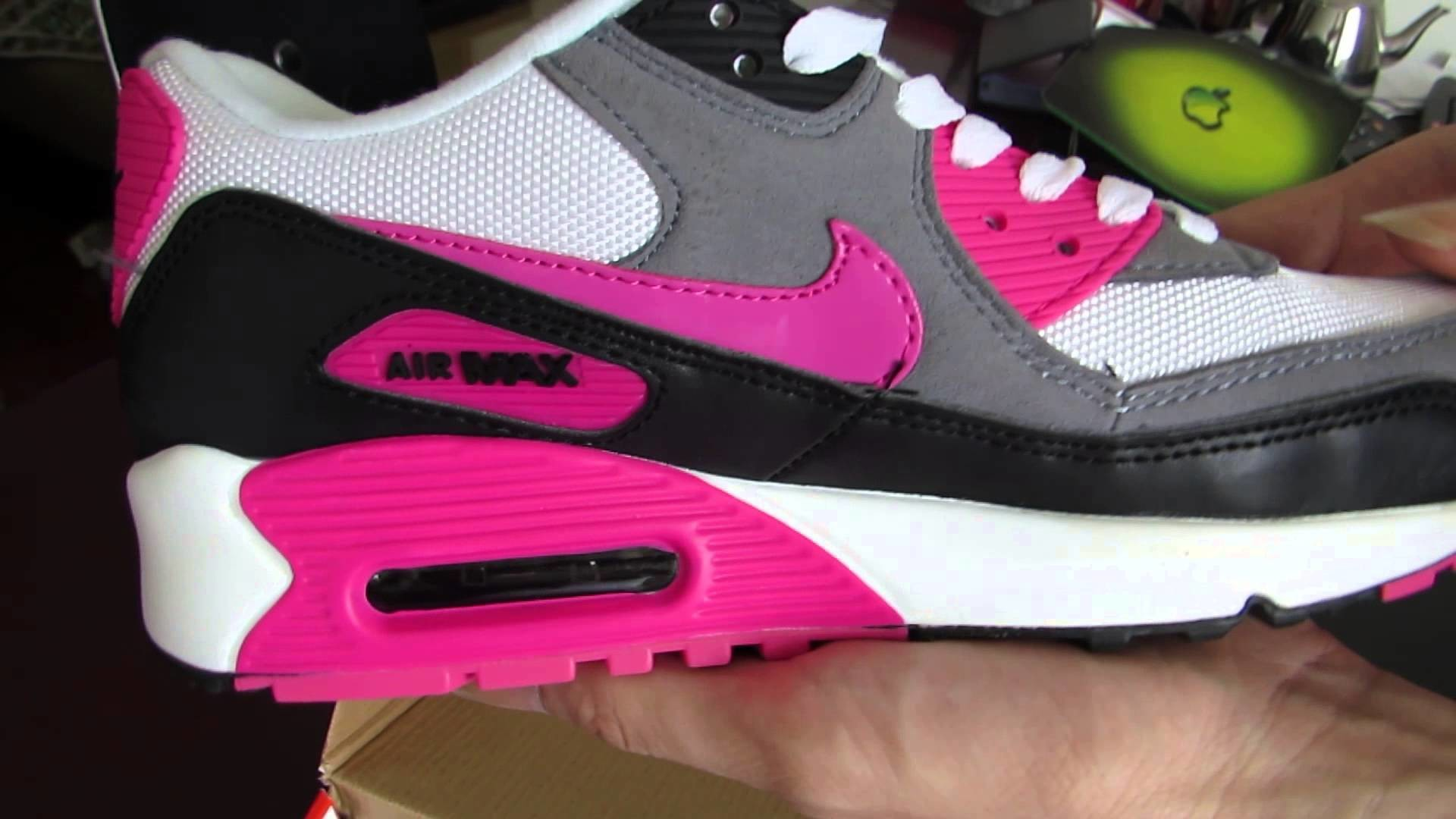 Nike Air Max 90 Women Essential White Pink Foil Black Trainers – YouTube