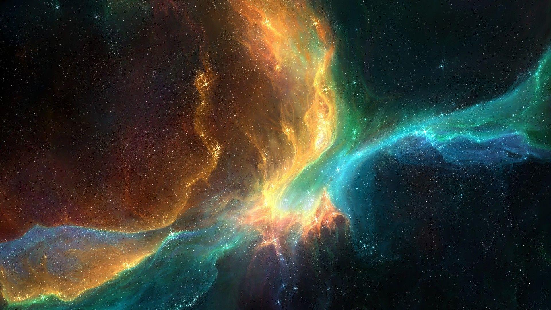 Colors blue orange black stars dust space – Wicked Wallpaper – FREE HD  wallpapers   HD Space Wallpapers   Pinterest   Hd space