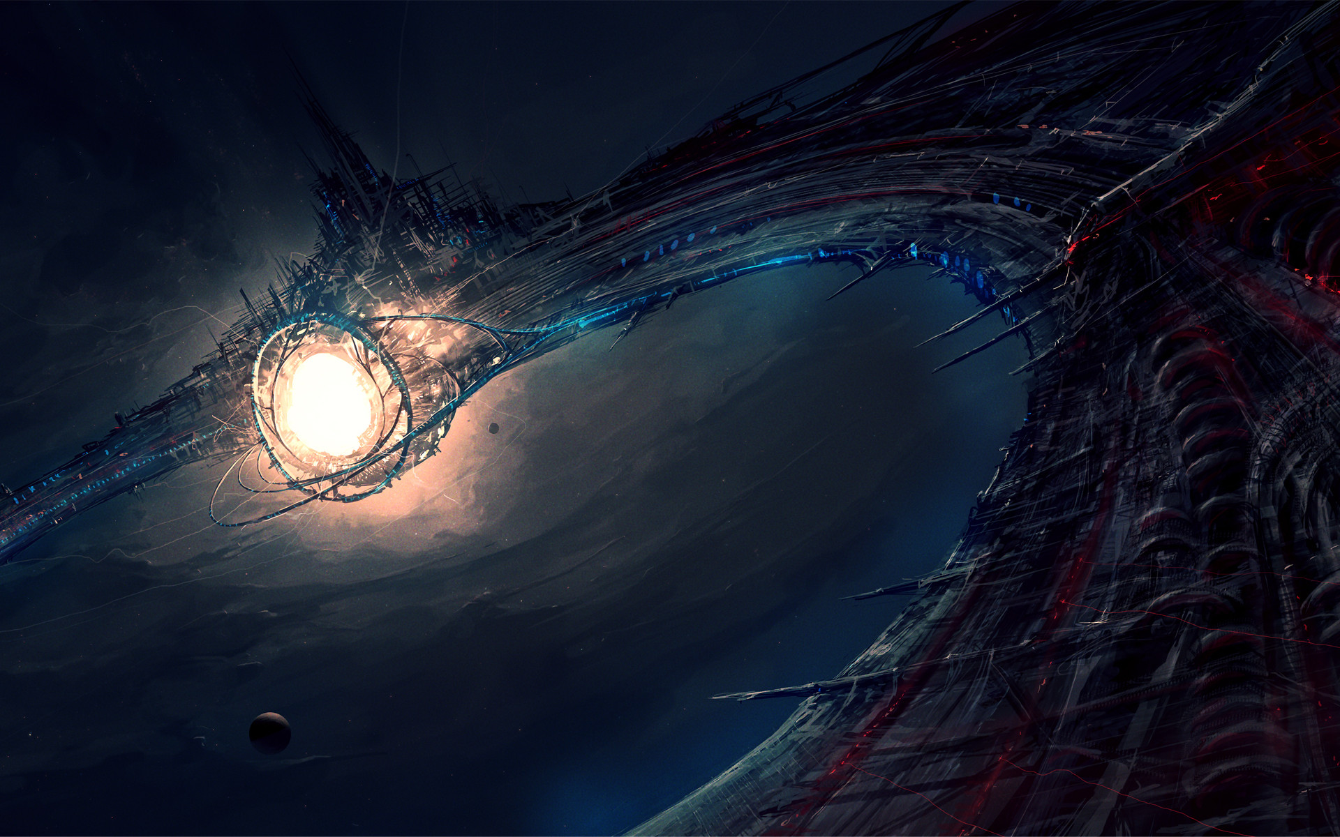 Preview wallpaper space station city energy deep space amazing