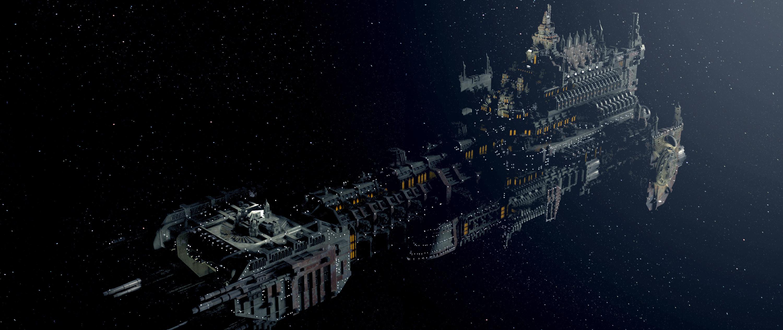 wallpaper warhammer 40k spaceship deep space gothic.