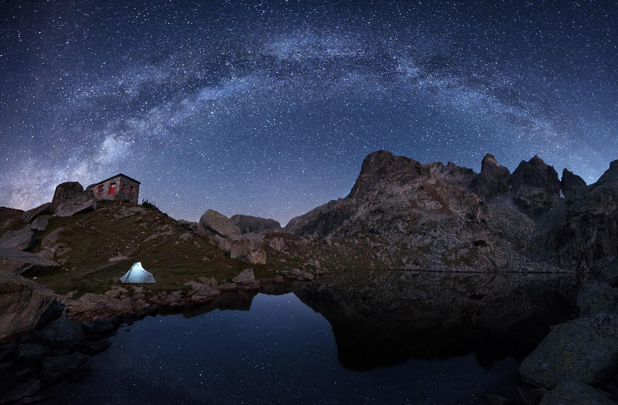 nature Night Stars Milky Way Landscape Mountain Rock House