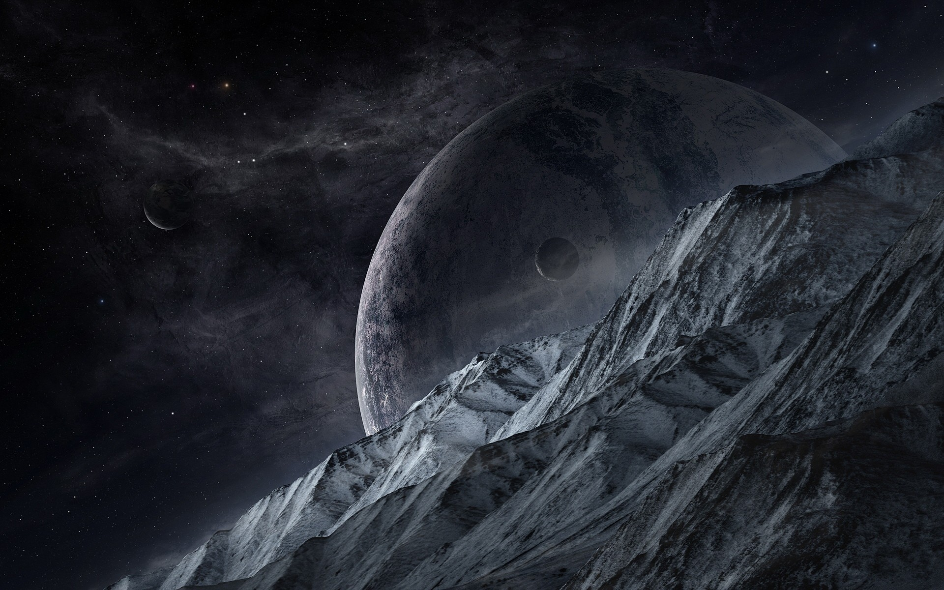Mountain Planets Outer Space wallpapers and stock photos