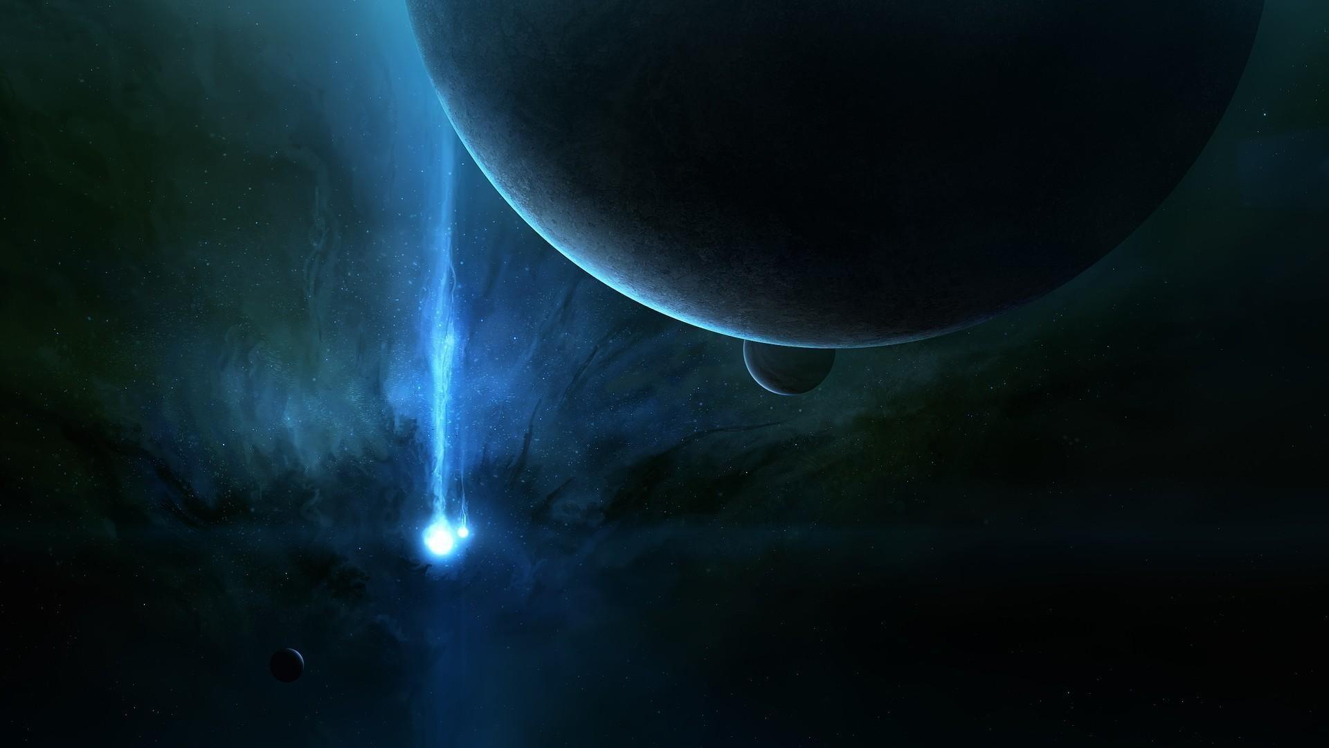 wallpaper energy burst near planet in the dark space.