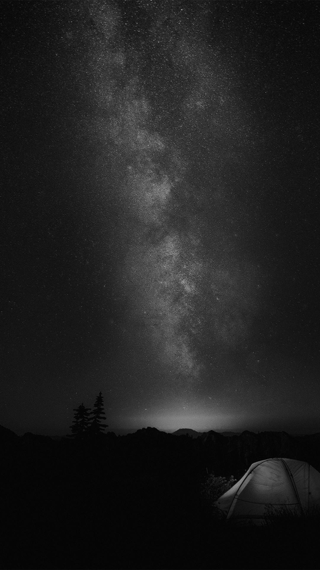 Camping Night Star Galaxy Milky Sky Dark Space Bw iPhone 8 wallpaper