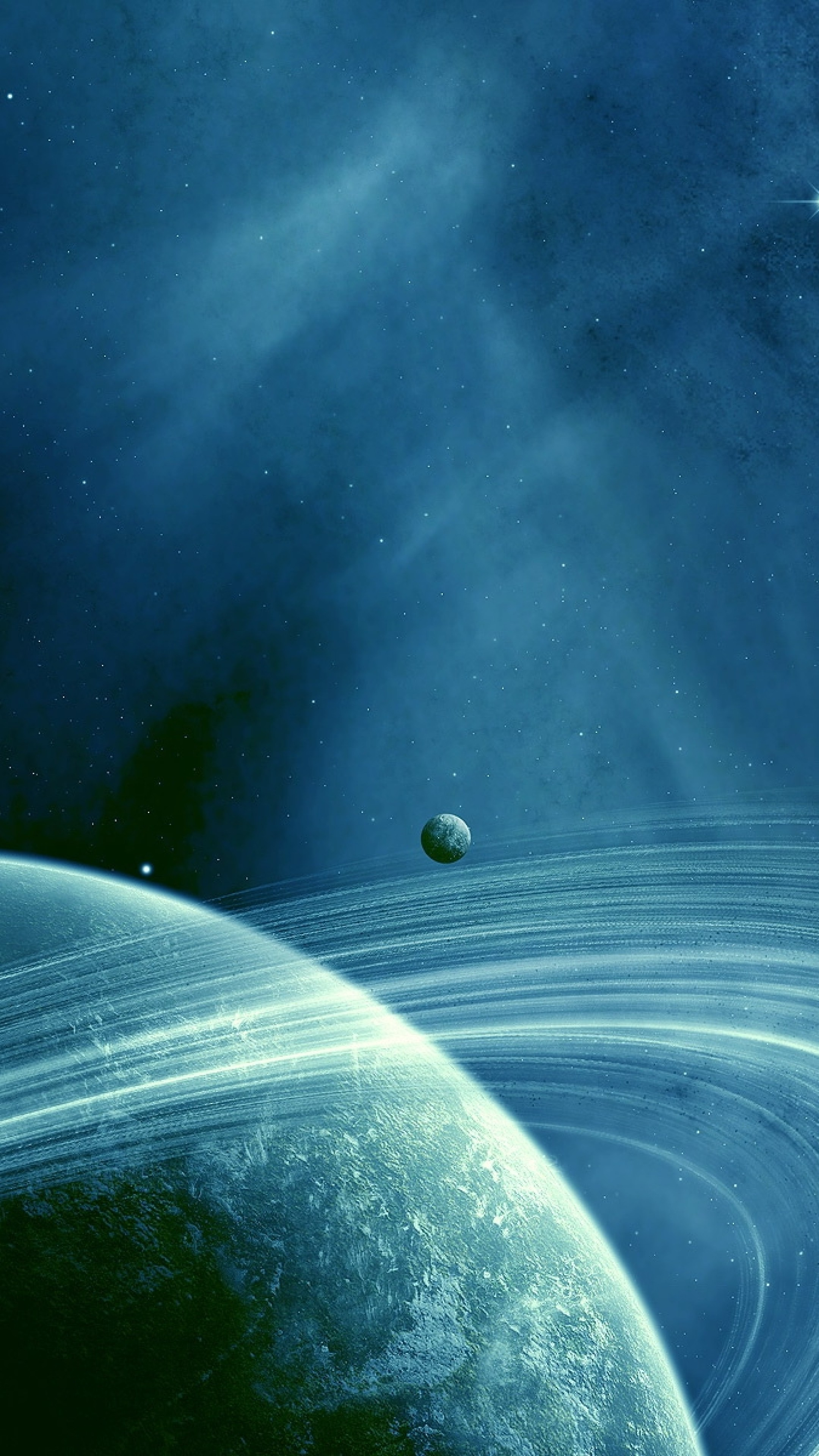 Wallpaper saturn, blue space, dark space