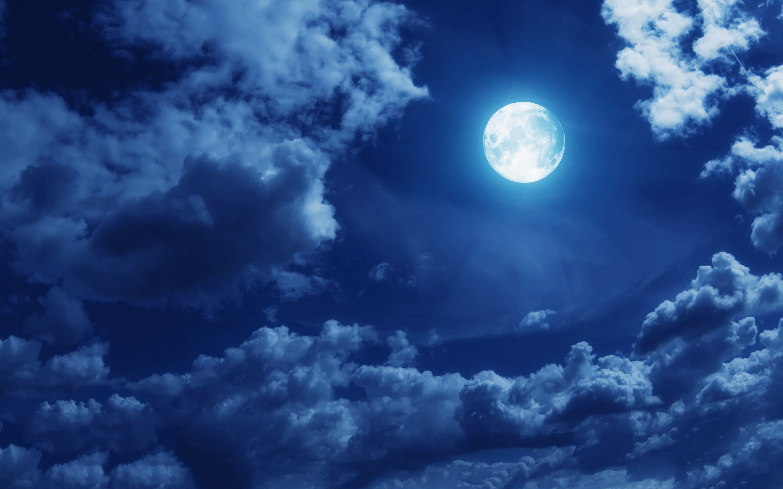 Full Moon Stars Clouds
