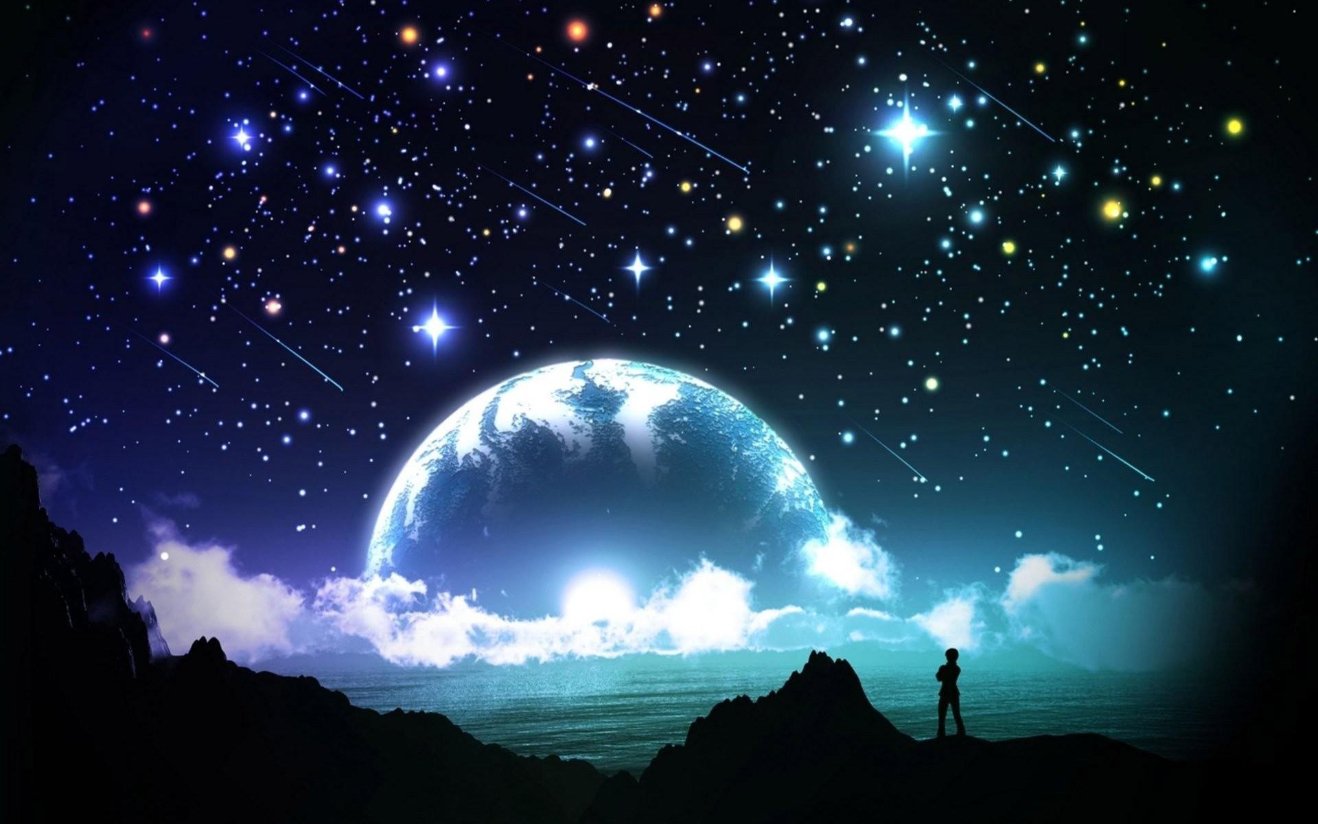 https://www.walldevil.com/wallpapers/a88/night-sky-star-moon-cloud-sea-ocean.jpg  | Twinkle Twinkle… | Pinterest | Wallpaper