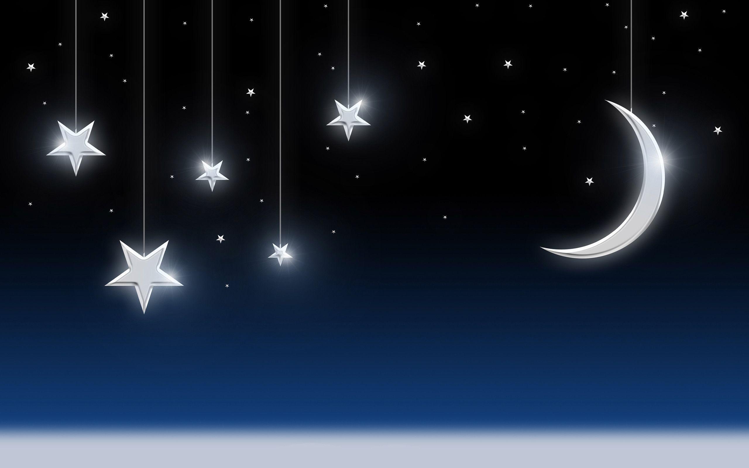 Night Sky Stars Moon Wallpaper – Tera Wallpaper