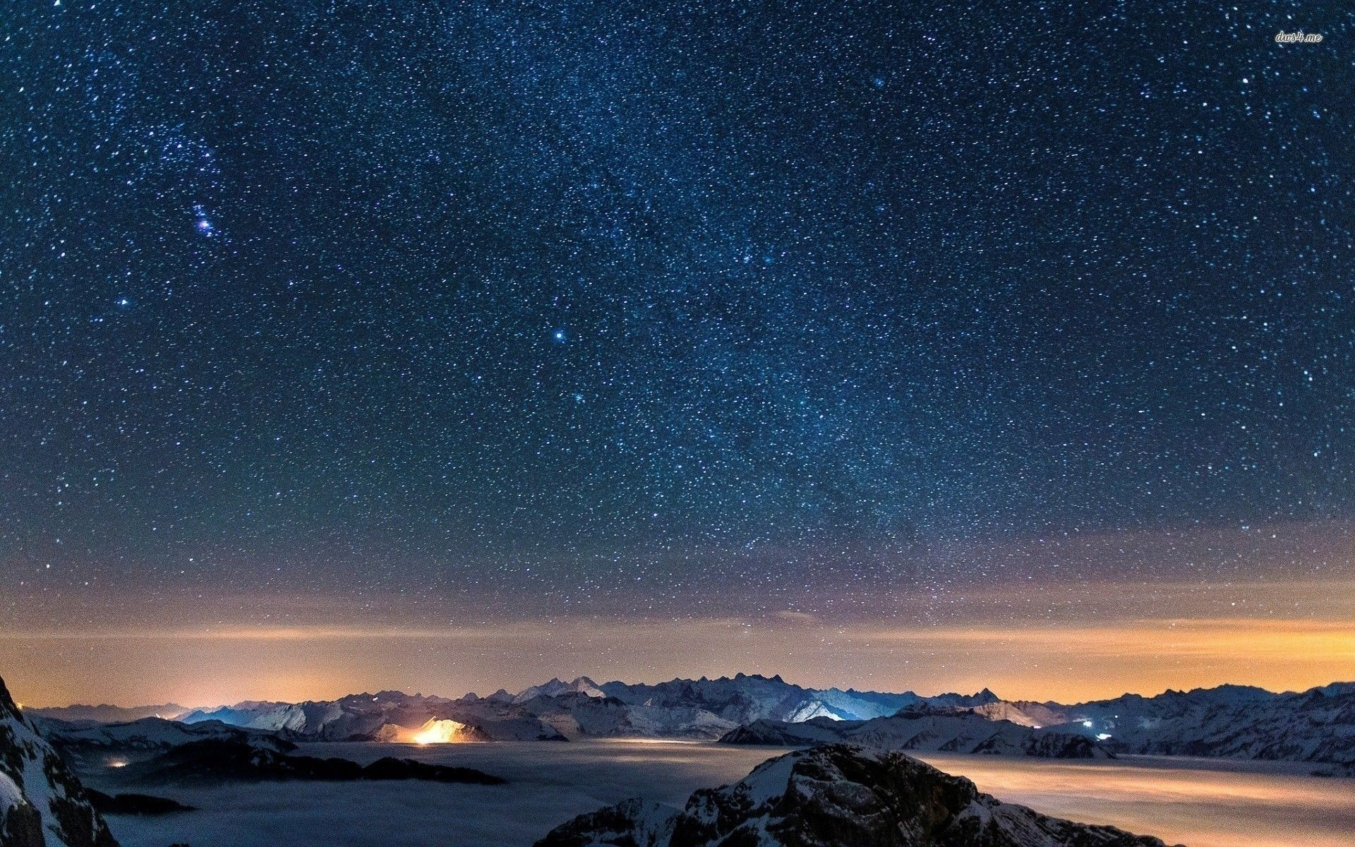 Starry Night Sky With Moon – wallpaper.