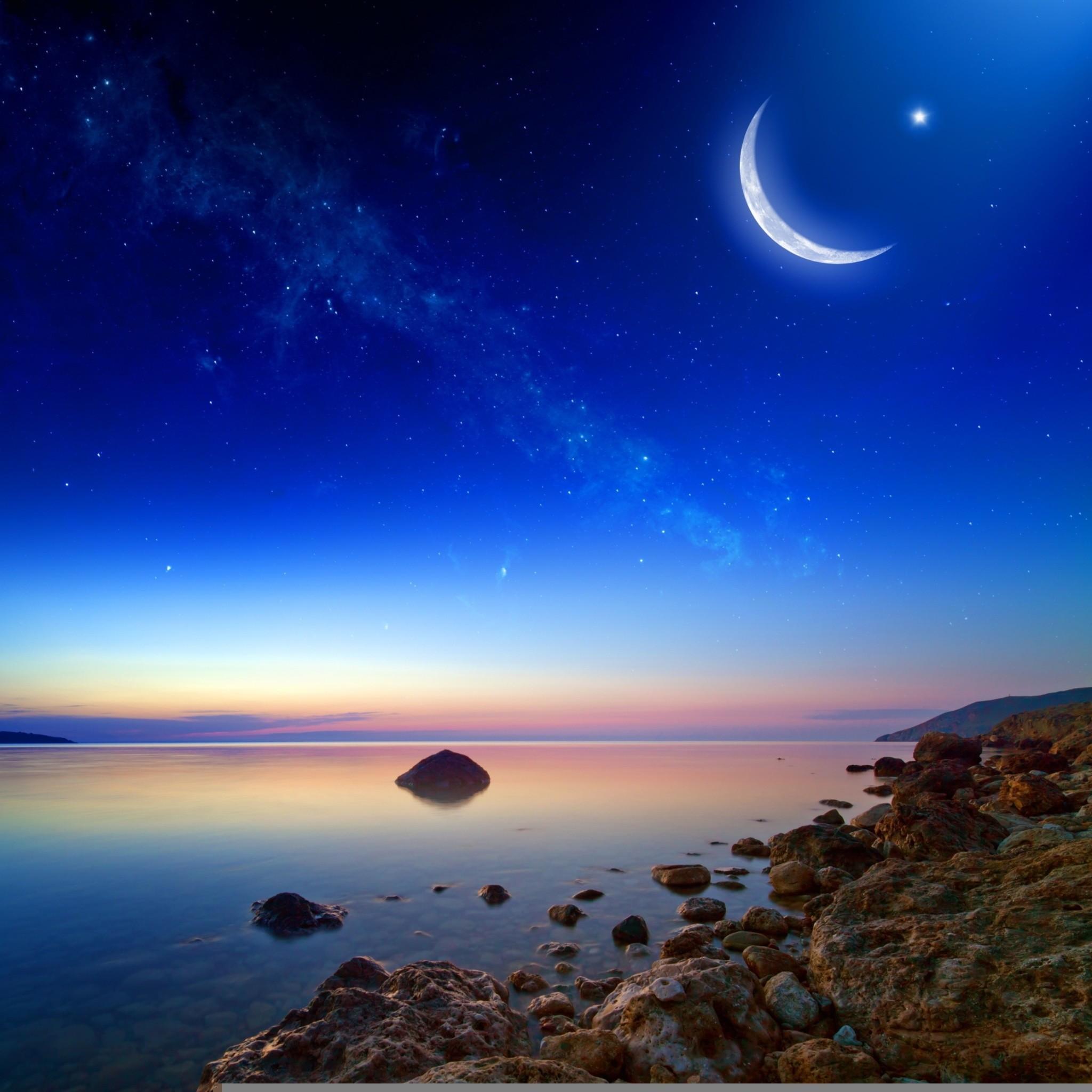 2283 2: Coastal Moonlight Stars iPad wallpaper