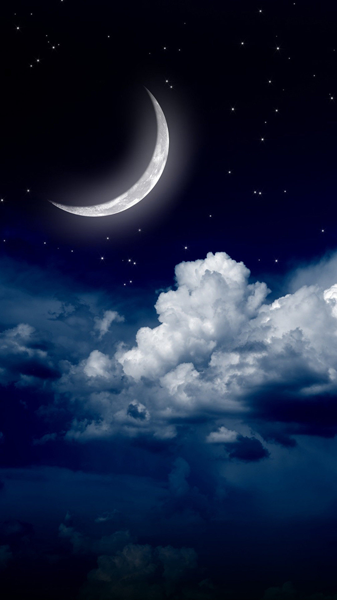 Sky clouds moon. iPhone wallpapers of night stars view and scenery. Tap to  check