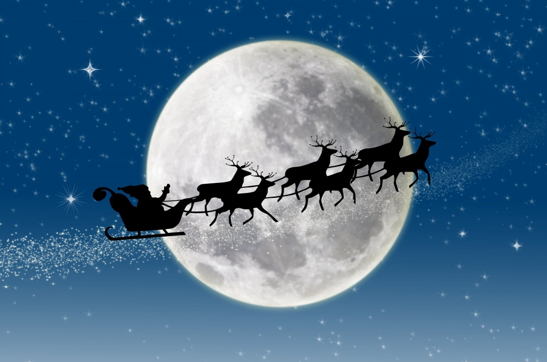 new year merry christmas snow full moon reindeer stars santa claus coming  new year merry christmas
