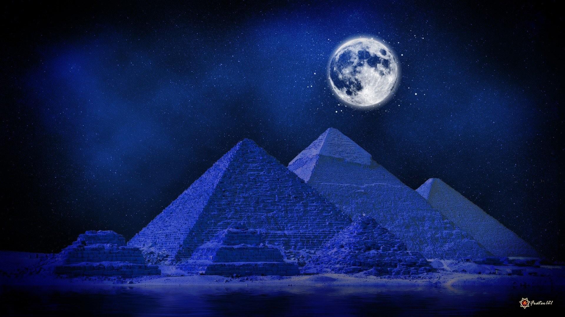 Blue deserts digital art artwork Full Moon pyramids midnight wallpaper |  | 323740 | WallpaperUP