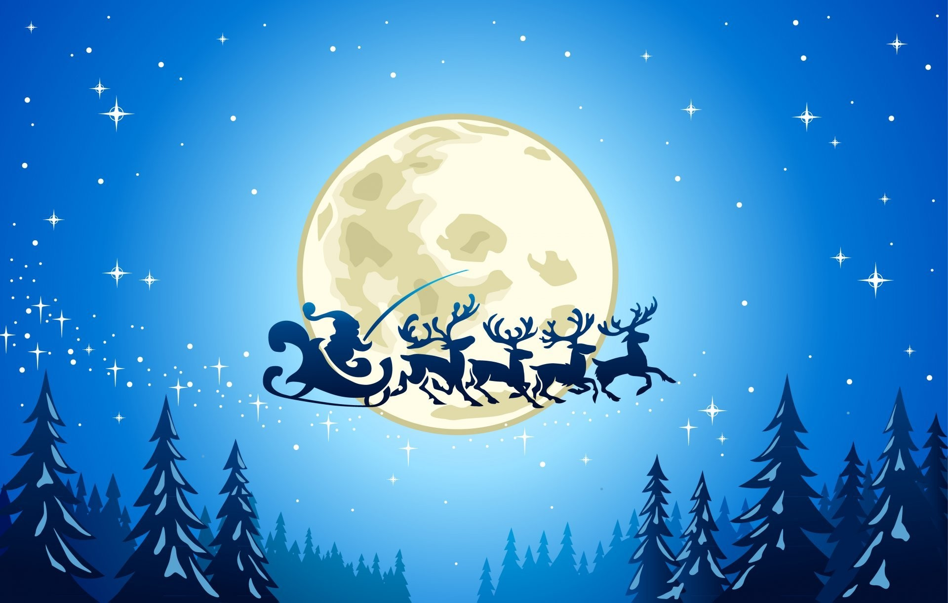 new year merry christmas snow trees ice town full moon reindeer houses stars  vector graphic santa