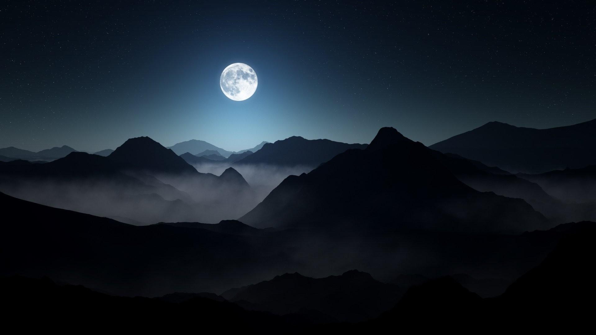 otto hütter darkness foggy landscape lighting moody moon mountains stars  dark night full moon mountain fog