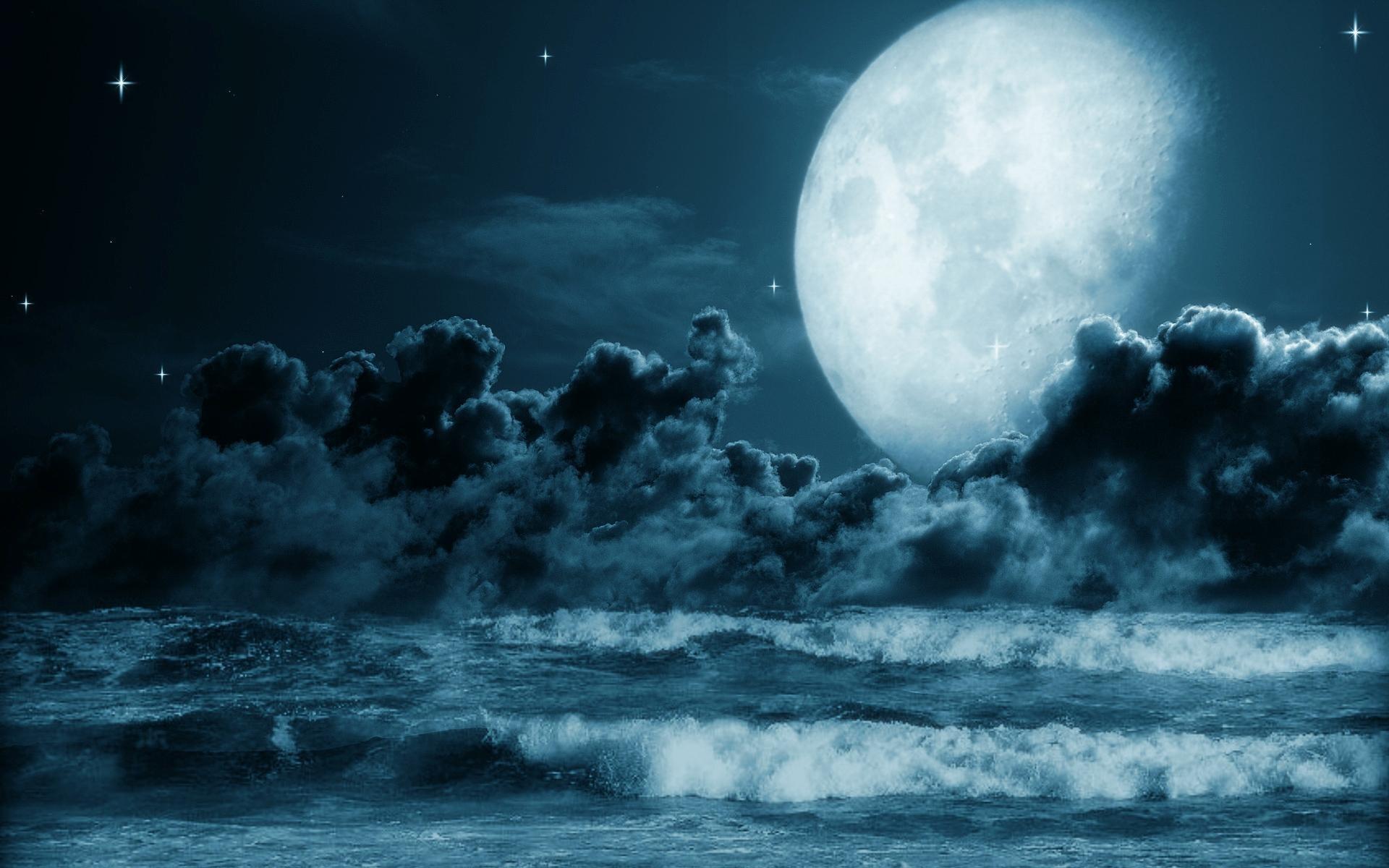 Oceanic Full Moon Night