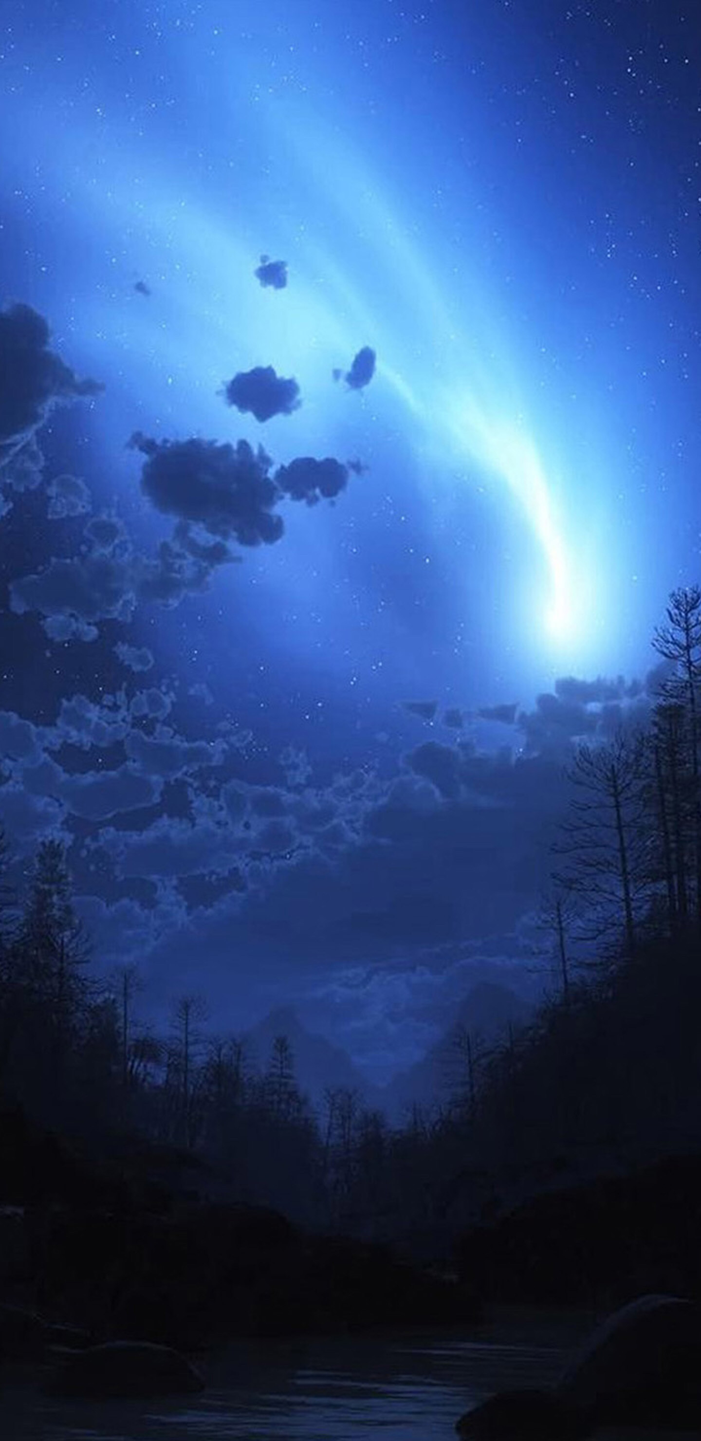 Blue, night, sky, storm, minimal, abstract, wallpaper, galaxy,