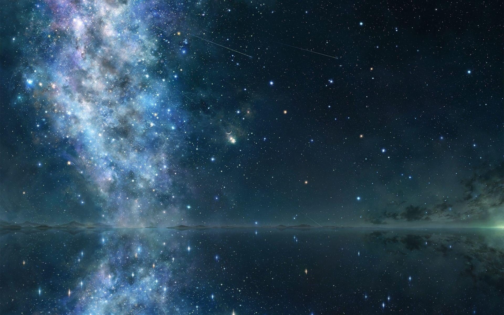 Lakes reflection star stars sky night wallpaper