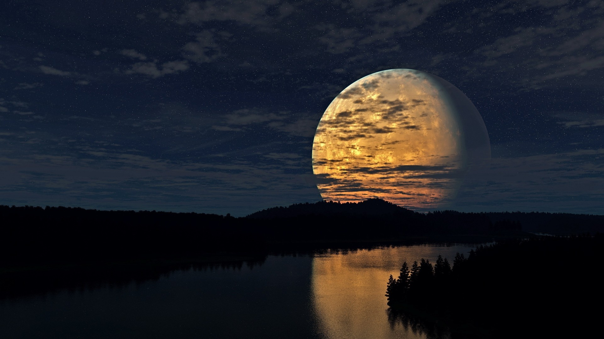 Wallpaper night, sky, moon, trees, river, reflection