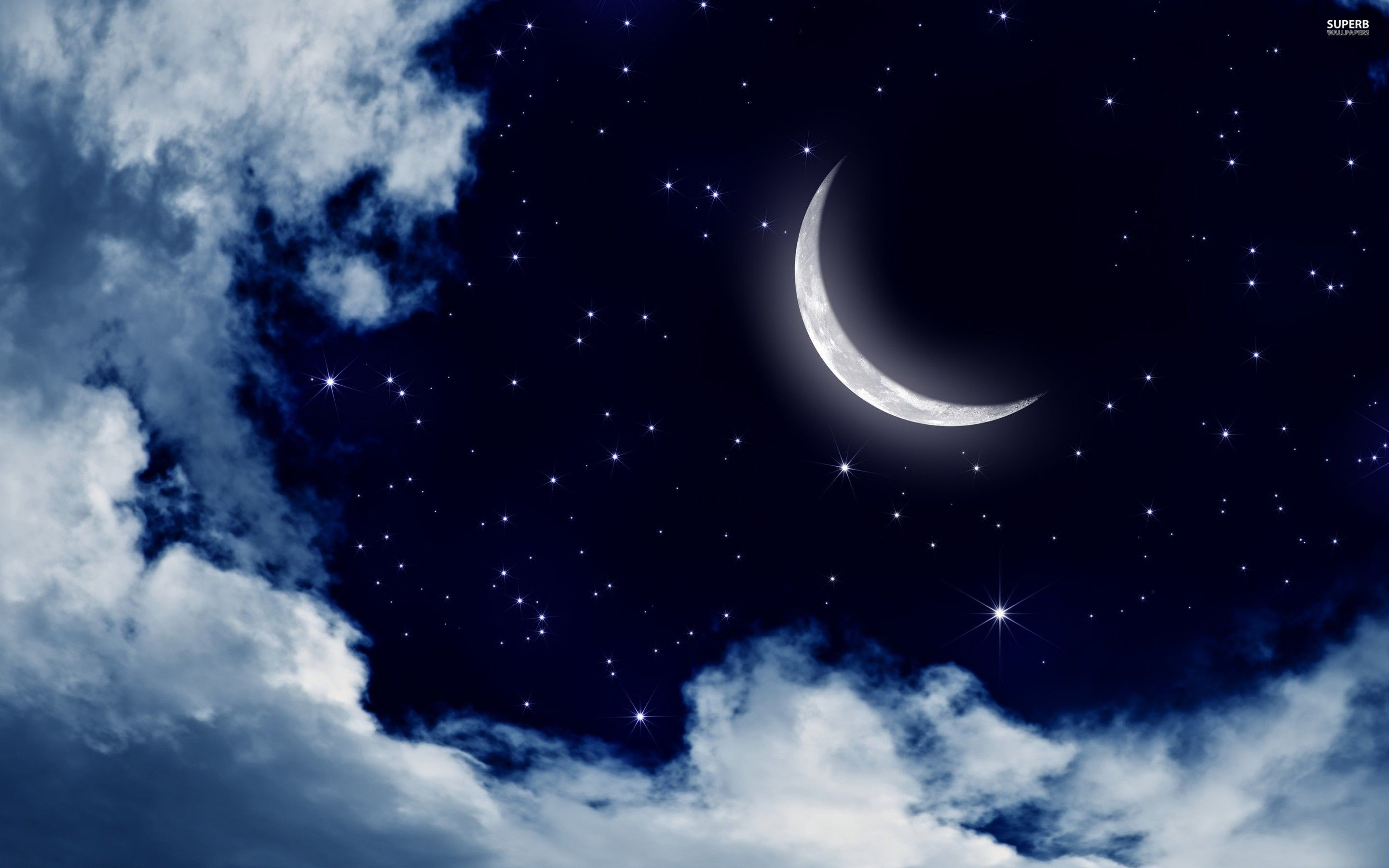 Moon and stars in the sky wallpaper – Digital Art wallpapers – #25176
