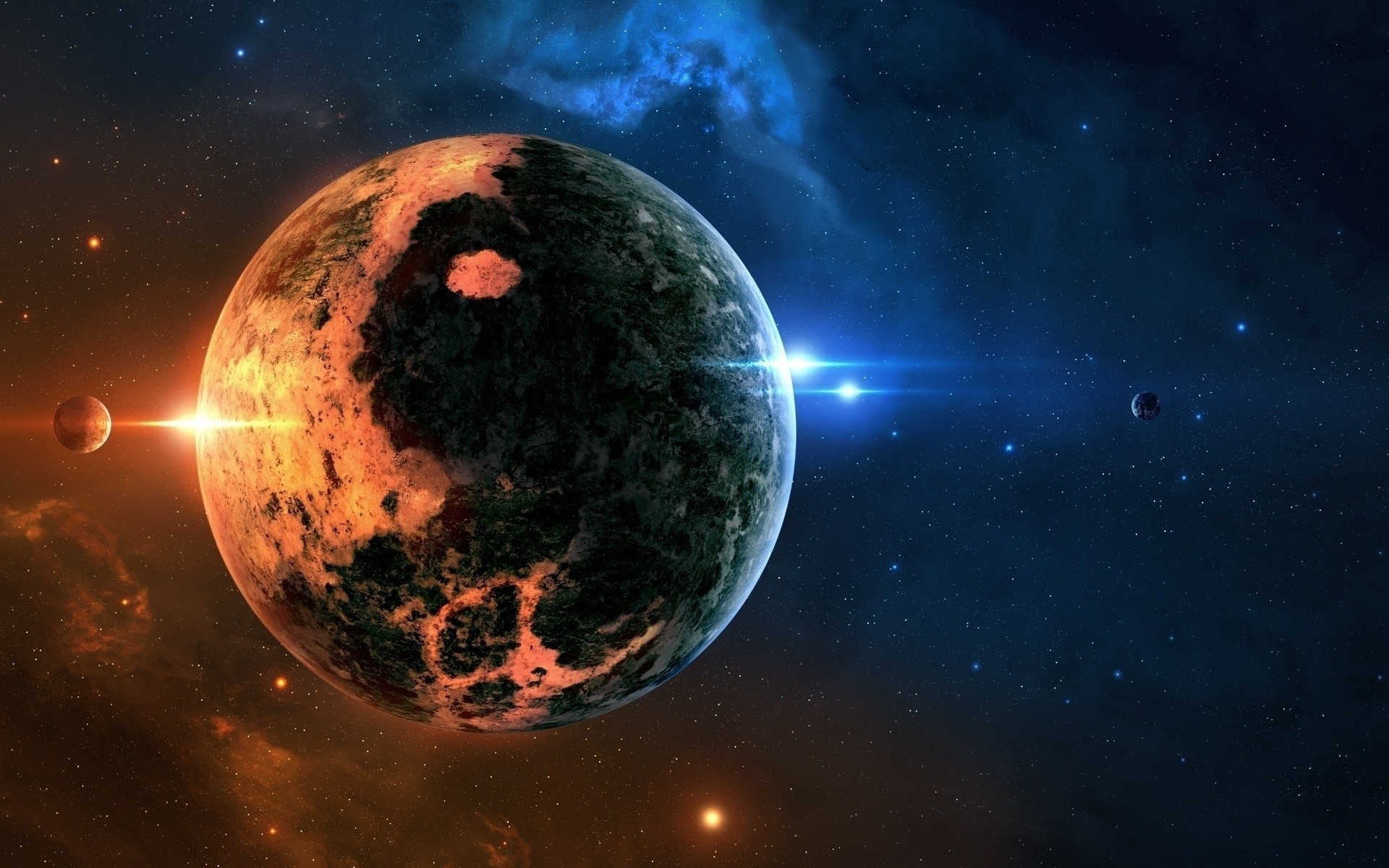 planets colliding in outer space
