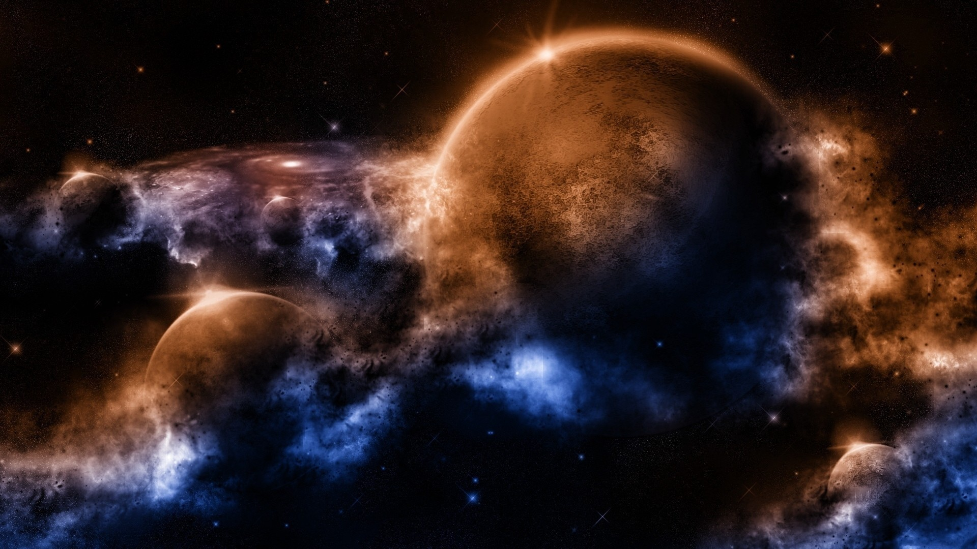 Preview wallpaper outer, space, planets, worlds 1920×1080